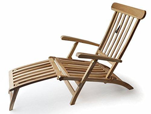 Ploß Teak Holz Deckchair Titanic Liege Stuhl Sonnenliege 166x60x97cm