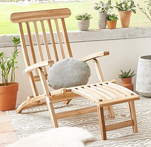 SAM Teak Holz Deckchair, Sonnenliege- Stuhl, verstellbar, geschliffen, zusammenklappbar, Balkon, Terrasse und Garten