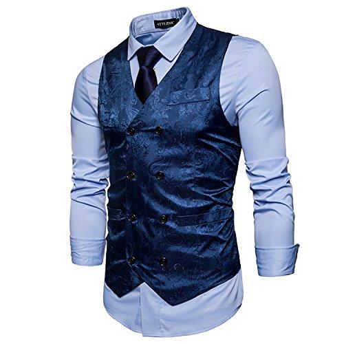 STTLZMC Elegante Herren Weste Formal Paisley Slim Fit Retro Stil blazer,Blau,m