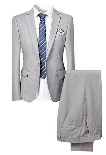 Slim Fit 2-Teilig Herren Anzug für Hochzeit Party HellGrau Large