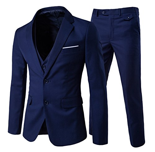 Slim Fit  3-Teilig Business Herrenanzug Smoking Marineblau 1 Medium