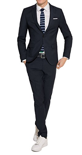 Slim Fit - Herren Anzug in Schwarz Oder Blau, Luigi/Elio (880 1420), Farbe:Blau(10);Größe:48