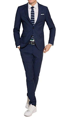 Slim Fit - Herren Baukasten Anzug aus reiner Schurwolle, Marke: Lanificio Tessile d'Oro, Jasper/Lux (CMP-9999-6730), Größe:48;Farbe:Royal Blau