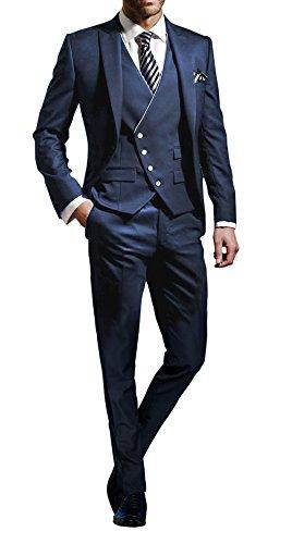 Suit Me Herren 3-Teilig Anzug Slim Fit Hochzeiten Party Smoking Anzuege Sakko,Weste,Hose Blau L