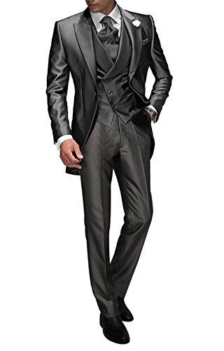 Suit Me Tailored Herren 3-Teilig Anzug Fuer Hochzeiten Party Smoking Anzug Sakko,Weste,Hose Grau M
