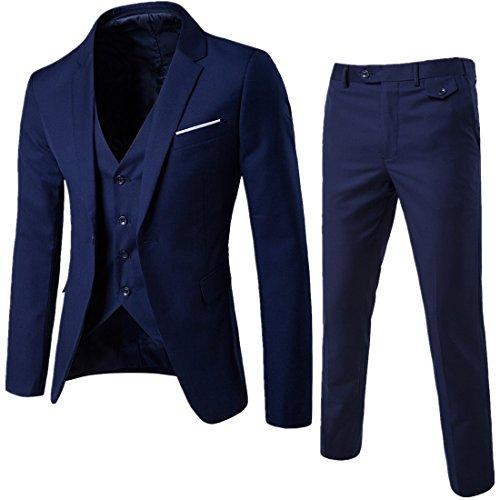 Sunshey Herren Anzug 3-Teilig Slim Fit Anzugsjacke Anzugsweste Anzugshose ein knopf Muster, Dunkelblau, DE 2XL/China 5XL