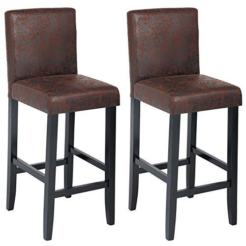 WOLTU BH38dbr-2 Barhocker Bistrostuhl Holz Kunstleder Bistrohocker mit Lehne , 2er Set ,schwarze Beine aus Massivholz , Antirutschgummi , dick gepolsterte Sitzfläche aus Kunstleder ,Antiklederoptik, Dunkelbraun