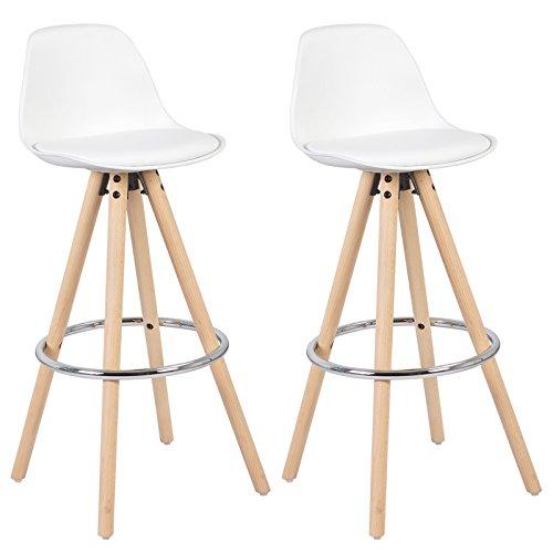 WOLTU BH45ws-2 2 x Barhocker 2er Set Barstuhl aus Kunststoff Holzgestell mit Lehne + Fußstütze Design Stuhl Küchenstuhl Optimal Komfort Weiss