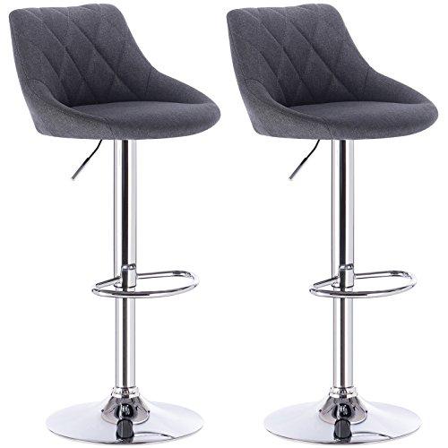 WOLTU BH69dgr-2 Barhocker Tresenhocker, Gut Gepolsterte Sitzfläche aus Leinen, Höhenverstellbar, Drehbar, 2 x Hocker, Dunkelgrau
