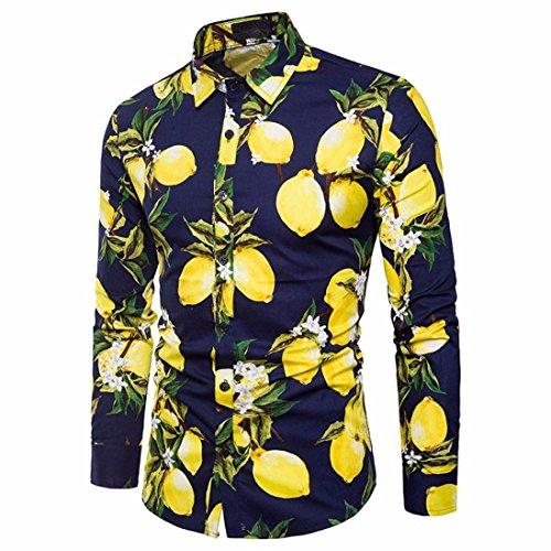 feiXIANG Männer Herren Hemd Slim Fit für Freizeit Business Hochzeit Mode Hemd Langarm Gedruckte Slim Fit Lange ärmel Casual Button Hemden Top Bluse (M, Marine)
