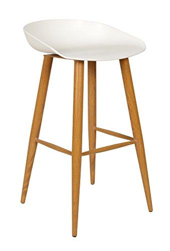 ts-ideen Design Klassiker Barhocker Stuhl Retro 50er Jahre Barstuhl Küchenstuhl Esstisch Stuhl Bistrostuhl Wohnzimmer Sitz weiß Hocker Metall Holzoptik