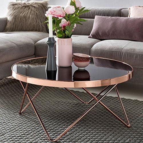 FineBuy Design Couchtisch ROUND ø 82cm Rund Glas Kupfer | Runder Lounge Tisch verspiegelt | Moderner Wohnzimmertisch | Glastisch Sofatisch für Wohnzimmer Beistelltisch