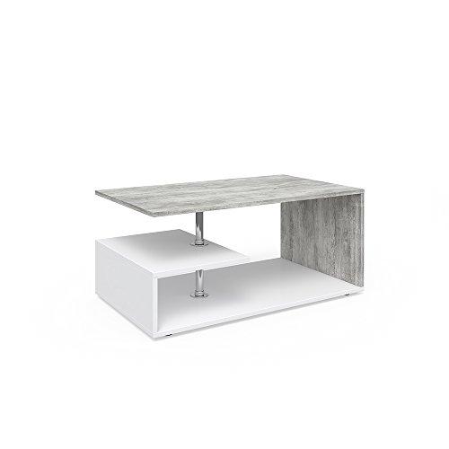 Vicco Couchtisch GUILLERMO 91 x 52 cm - Wohnzimmertisch Beistelltisch Holztisch Kaffeetisch - 4 Farben zur Auswahl (weiß beton)