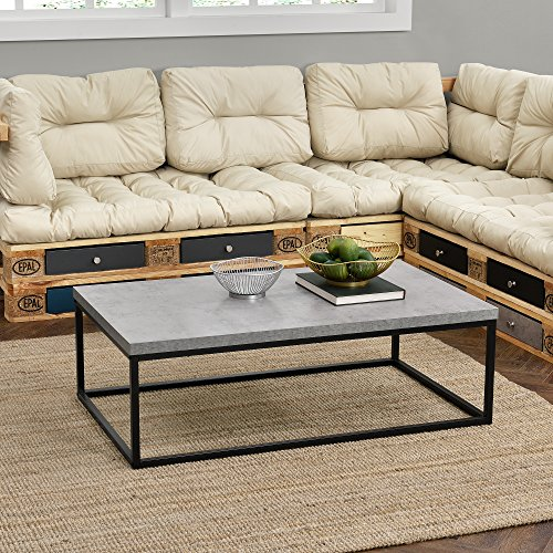 [en.casa]® Couch-Tisch Design MDF - Beton-Optik - 110x65x35cm - Beistelltisch Wohnzimmer Deko Metall Gestell