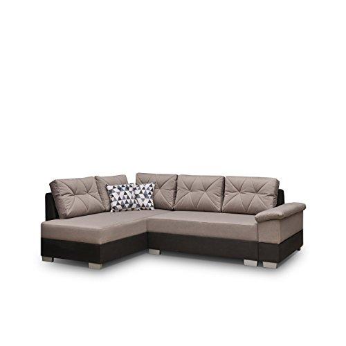 Ecksofa Eckcouch Manhattan ! XXL Sofa Couch mit Bettkasten und Schlaffunktion, Hochelastischer Schaumstoff HR, L-Form Schlafsofa Bettsofa, Große Funktionssofa (Ecksofa Links, Soft 019 + Novel 04)