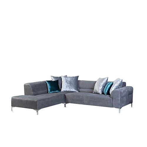 Ecksofa Eckcouch Stilo mit Bettkasten und Schlaffunktion, freistehendes Bettsofa, Hochelastischer Schaumstoff HR, Schlafcouch, Funktionssofa, Sofa (Kingston 10 + Gloss Velvet 1207 + Gloss Velvet 1205, Ecksofa Links)