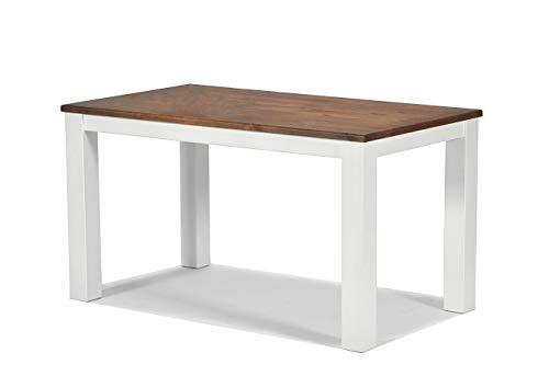 Esstisch 2- farbig ,,Rio Landhaus,, 120x80cm Pinie Massivholz, Tischplatte leicht gebürstet, Farbton: Weiss / Kolonial Zimt, für Wohnzimmer, Esszimmer, Küche und Büro, Optional erhältlich: passende Bänke und Stühle