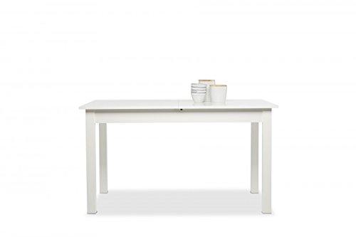 Esstisch 'Franzis Weiß' Holztisch Weiß ausziehbar vier Größen, Maße:140-180x76.5x80