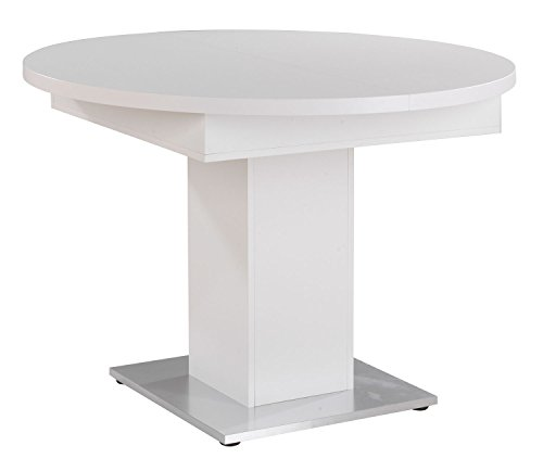 Esstisch Küchentisch Ausziehtisch JÖRN 11 | Ø 104 cm | Dekor | Weiß matt | ausziehbar