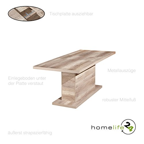 H24living Esstisch I Ausziehtisch I 160-200 cm I Esszimmertisch I Säulentisch I Küchentisch I Ausziehbarer Esstisch I Küche I Rechteckig I Moderner I Holz-Tisch I Wild-Eiche Optik