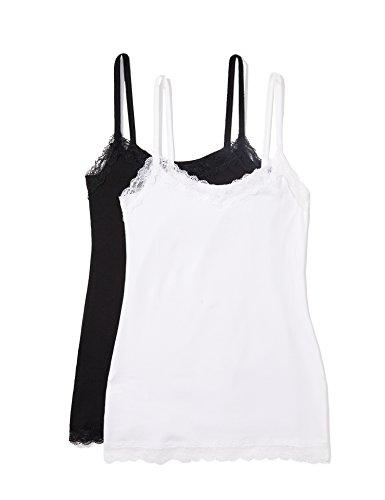 Iris & Lilly Damen Unterhemd mit Spitze, 2er Pack Mehrfarbig X-Large