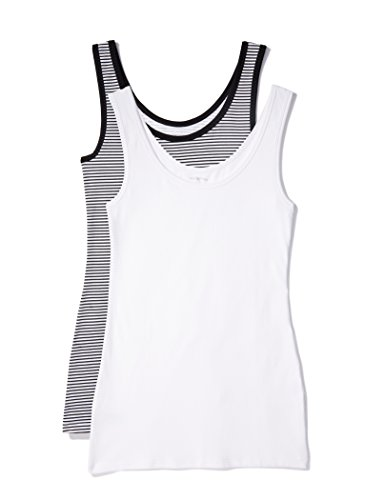 Iris & Lilly Unterhemd Damen aus Baumwoll-Jersey mit U-Ausschnitt, 2er Pack, Mehrfarbig (Weiß, Schwarz/Weiß gestreift), Medium