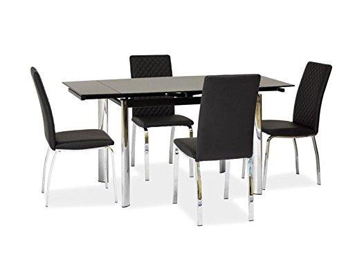 Jadella Glastisch 'Memphis' Küchentisch 70x100cm ausziehbar auf 150cm, Farbe:Schwarz
