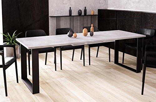 Kufentisch Esstisch Cora Beton ausziehbar 130cm - 210cm Küchentisch mit Kufen Design