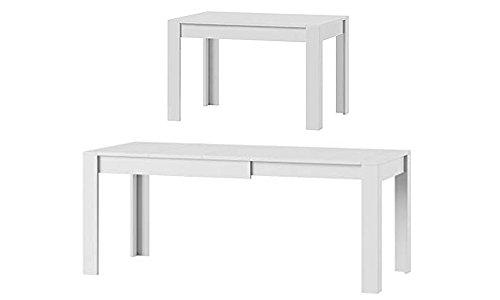 MPS praktisch Tisch SYRIUS 120-190 x 80 x 76 cm (L x B x H) im Weiß Matt für Esszimmer, 4-8 Personen Esstisch mit ausziehbarer Tischplatte auf 190 cm, ausziehbar Küchentisch, Esszimmertisch, Ausziehtisch