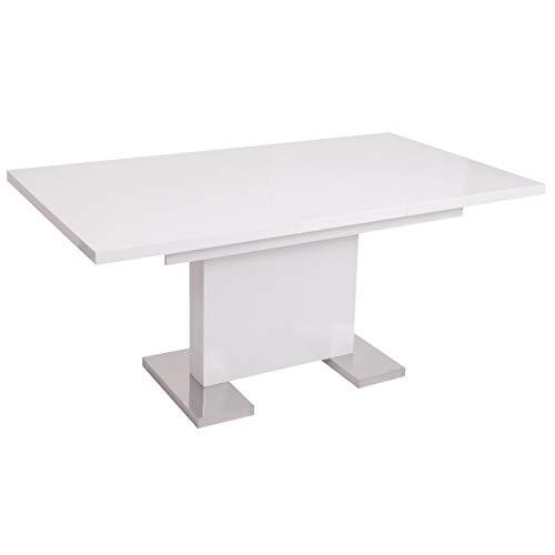 Mendler Esstisch HWC-B49, Esszimmertisch Tisch, ausziehbar Hochglanz Edelstahl 120-160x90cm