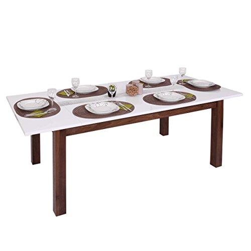 Mendler Esstisch HWC-B51, Esszimmertisch Tisch, ausziehbar Hochglanz Walnuss-Optik 160-200x90cm
