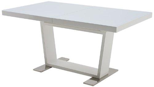 Robas Lund, Tisch, Esszimmertisch, Manhattan, ausziehbar, Glas/Hochglanz/weiß, 160(240) x 76 x 90 cm, 0216HWGW