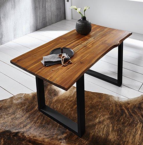 SAM Esszimmertisch 120x80 cm IDA, Cognac, Massiver Esstisch aus Akazienholz, Metallbeine Schwarz, Baumkantentisch