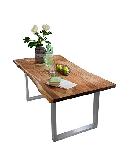 SAM® Stilvoller Esszimmertisch Quarto 160 x 85 cm, nussbaumfarbig, Akazienholz-Tisch mit Silber lackierten Beinen, Baum-Tisch mit naturbelassener Optik