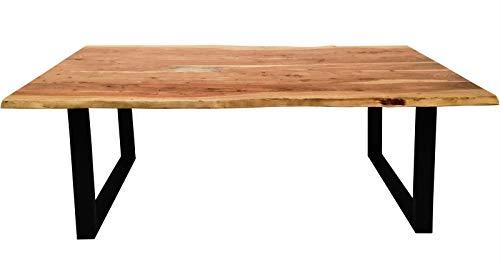 SIT Tisch mit Baumkante Gestell schwarz - 180 x 90 cm