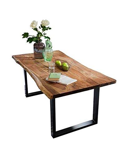 Sit Möbel Esstisch aus Akazie Massivholz mit Baumkante Stahlgestell Schwarz Nussbaum 200x100 cm
