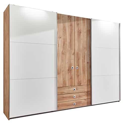 Wimex E10440 Kleiderschrank, plankeneiche nachbildung, Holz, schwebetüren alpinweiß, 270 x 65 x 210 cm