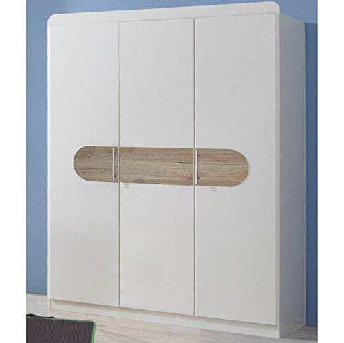 Wimex Kleiderschrank/ Drehtürenschrank Lilly, 3 Türen, (B/H/T) 135 x 175 x 58 cm, Weiß