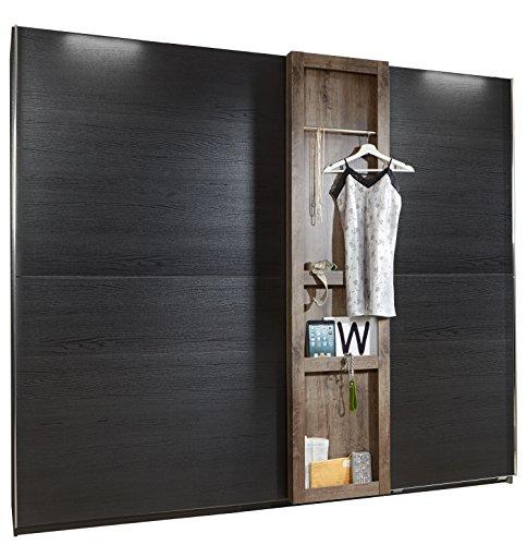 Wimex Kleiderschrank/ Schwebetürenschrank Boston, (B/H/T) 250 x 220 x 65 cm, Schlammeiche/ Absetzung Schwarzeiche