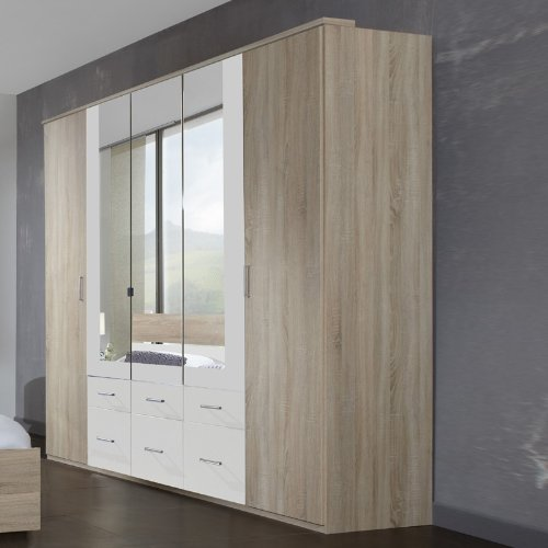 Wimex Kleiderschrank/Drehtürenschrank Alina, 5 Türen, 6 Schubladen, 3 Spiegel, (B/H/T) 210 x 65 x 225 cm, Eiche Sägerau