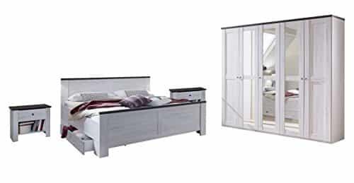 Wimex Schlafzimmer Set mit Bett, Nachttisch/ Nachtschrank 2-er Set, Kleiderschrank/ Drehtürenschrank Chateau, Liegefläche 180 x 200 cm, Weiß