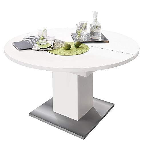 storado.de Esstisch rund 0588/120 Weiss matt edelstahloptik ausziehbar Tisch Esszimmertisch