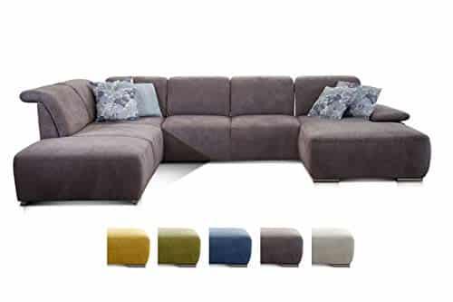 CAVADORE Wohnlandschaft Tabagos / U-Form mit Ottomane links / XXL Couch mit Sitztiefenverstellung / Kopfteilverstellung / 364 x 85 x 248 / Grau