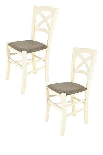 Tommychairs - 2er Set Stühle Cross, Robuste Struktur aus lackiertem Buchenholz in der Anilinfarbe Weiss und Sitzfläche mit Stoff in der Farbe Rehbraun bezogen. Set bestehend aus 2 Stühlen Cross