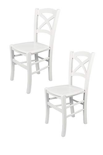 Tommychairs - 2er Set Stühle Cross für Küche und Esszimmer robuste Struktur aus lackiertem Buchenholz im Farbton Weiss und Sitzfläche aus lackiertem Holz in der Farbe Weiss. Set von 2 Stühlen