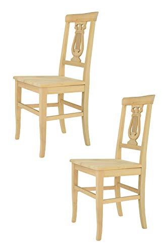 Tommychairs 2er Set Stühle Lira im klassischen Stil robuste Struktur aus poliertem Buchenholz unbehandelt und 100% natürlich, im natürlichen Farbton und mit Einer Sitzfläche aus poliertem Holz