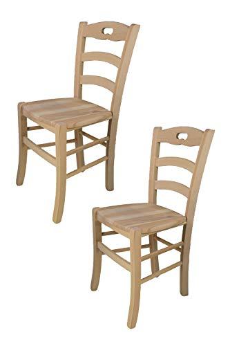 Tommychairs - 2er Set Stühle Savoie für Küche und Esszimmer, Struktur aus poliertem Buchenholz, unbehandelt und 100% natürlich und Einer Sitzfläche aus poliertem Holz