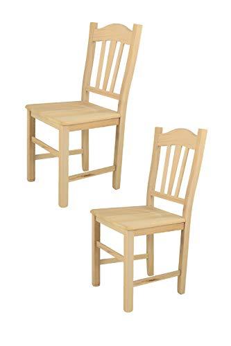 Tommychairs 2er Set Stühle Silvana im klassischen Stil, robuste Struktur aus poliertem Buchenholz, unbehandelt und 100% natürlich, im natürlichen Farbton und mit Einer Sitzfläche aus poliertem Holz