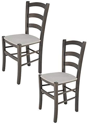 Tommychairs - 2er Set Stühle VENICE, robuste Struktur aus lackiertem Buchenholz in der Anilinfarbe Dunkelgrau und Sitzfläche mit STOFF in der Farbe Perlgrau bezogen. Set bestehend aus 2 Stühlen Venice
