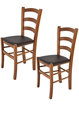 Tommychairs 2er Set Stühle Venice Robuste Struktur aus lackiertem Buchenholz im Farbton Nuss und Sitzfläche mit Kunstleder in der Farbe Mokka bezogen